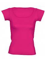 Футболка женская цветная для сублимации, термоперенос (флекс-пленка), размер L, цвет розовый