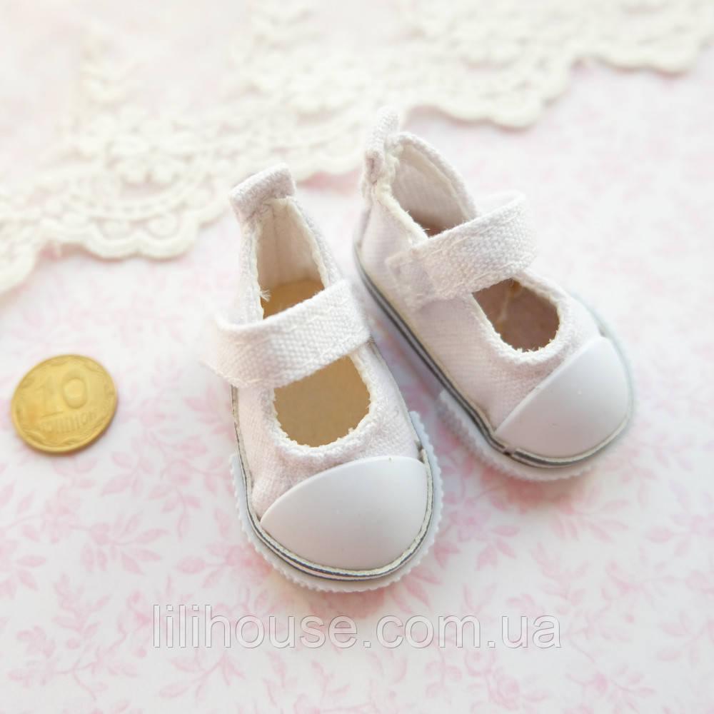 Обувь для кукол Туфельки на Липучке 5*2.5 см БЕЛЫЕ