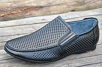 Мужские летние туфли мокасины в дырочку натуральная кожа, кожаная стелька черные легкие (Код: М1158), фото 1