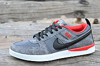 Мужские кросовки Nike реплика сетка сквозная серые легкие и удобные (Код: М1159) Только 40р!
