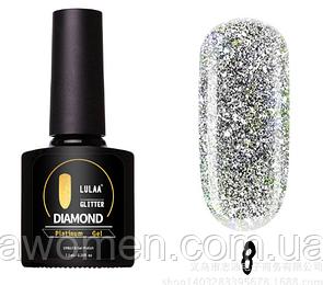 Гель лак Lulaa Diamond Glitter Platinum gel 7.5 ml № 08