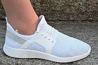 Кросовки, мокасины женские подростковые белые плотный текстиль практичные (Код: Ш1164)