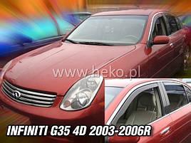 Дефлекторы окон (ветровики)  INFINITI G-35 - 4D 2003-2006R(HEKO)