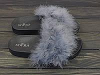 Темно-серые женские шлепанцы с пухом Sopra, фото 1
