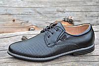 Мужские летние модельные классические туфли на шнурках натуральная кожа, кожаная стелька черные (Код: М1178), фото 1