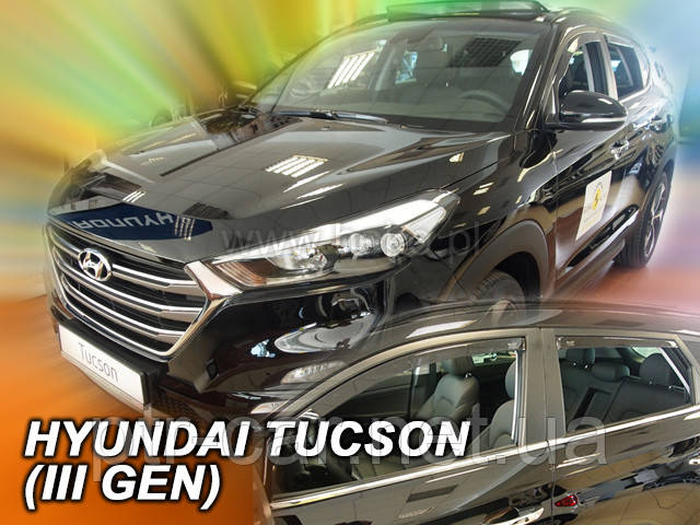 Дефлекторы окон (ветровики)  Hyundai Tucson 2015-> 5D 4шт (Heko)