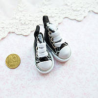 Обувь для кукол, кеды мини черные - 3.5*2 см