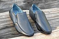 Мужские летние туфли мокасины в дырочку натуральная кожа, кожаная стелька черные легкие (Код: М1158а), фото 1