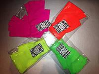 Модные яркие перчатки для взрослых и подростков, с обрезанными пальчиками