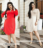 Женское полу приталенное платье замш в размере 50-56