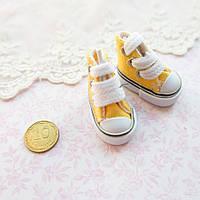 Обувь для кукол, кеды мини желтые - 3.5*2 см