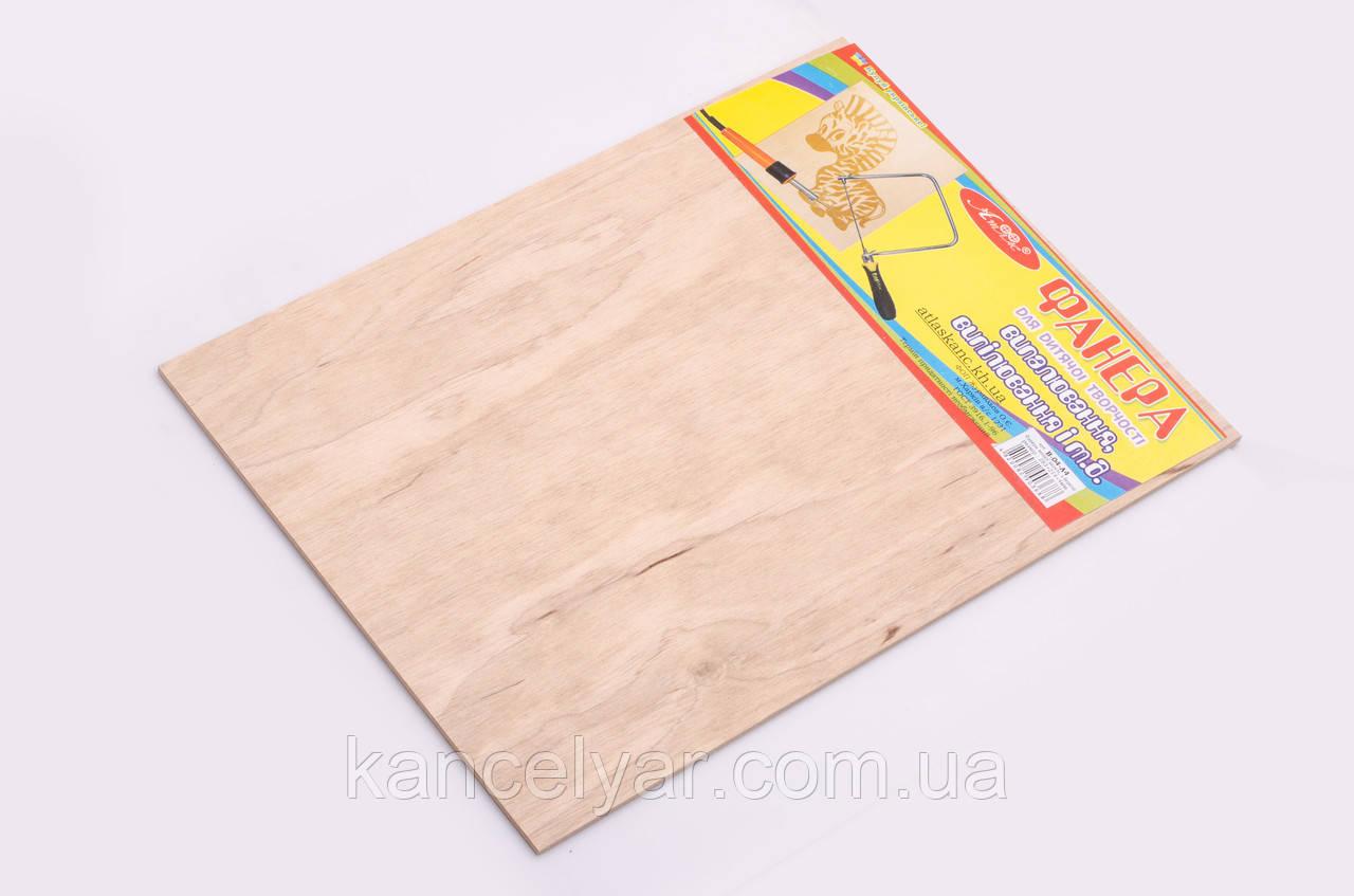 Фанера для дитячої творчості: шліфована, береза, вищий сорт, 283х214х4 мм