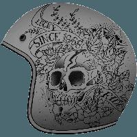 Открытый шлем MT Le-Mans 2 SV Skull & Rose Matt Grey