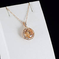 Несравненный кулон с кристаллами Swarovski + цепочка, покрытые золотом 0846