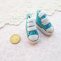 Обувь для кукол, кеды мини бирюза - 3.5*2 см