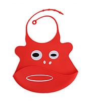 Силиконовый слюнявчик с карманом Красный (02107)