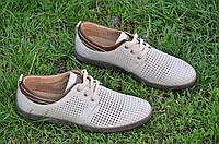 Мужские летние молодежные туфли на шнурках натуральная кожа, кожаная стелька бежевые удобные (Код: М1173а), фото 1