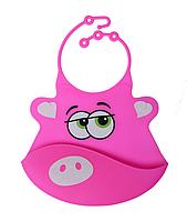 Силиконовый слюнявчик с карманом Розовая хрюша (02104)