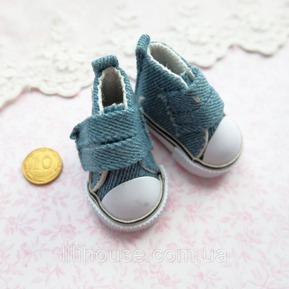 Обувь для кукол, кеды на липучке джинс - 5*2.5 см