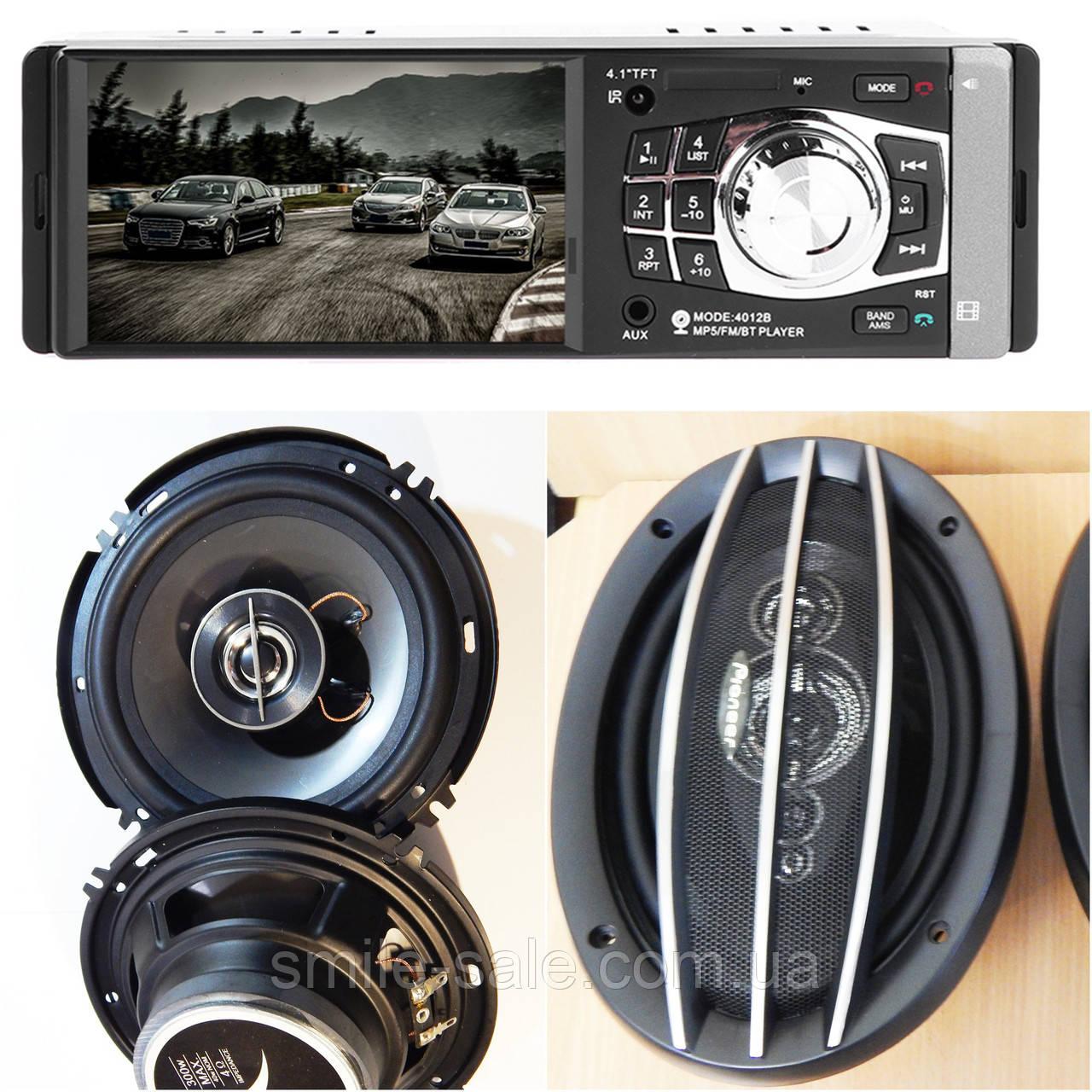 Набор Авто-звука с МР4 ВИДЕО Магнитолой Pioneer 4012CRB + Овалы 1000W + круглые 16 см 300W! НОВИНКА!