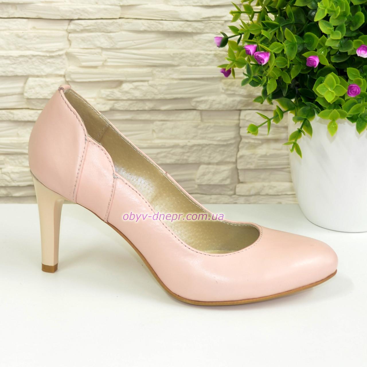 Женские классические кожаные туфли на шпильке, цвет пудра
