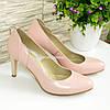 Женские классические кожаные туфли на шпильке, цвет пудра, фото 4