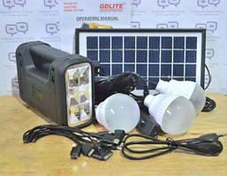 Набор для освещения, аккумулятор, солнечная батарея, gd-8017a, переносной фонарь, 3 лампы, зарядка гаджетов