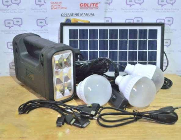 Набор для освещения, аккумулятор, солнечная батарея, gd-8017a, переносной фонарь, 3 лампы, зарядка гаджетов - Интернет магазин «Наш базар» быстро, доступно и качественно в Киеве