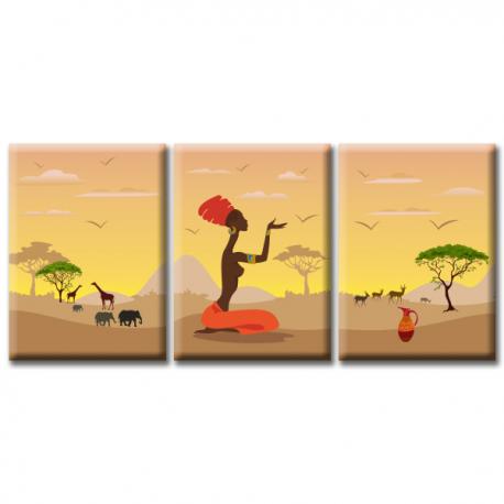 Модульная картина на холсте Savanna (триптих). Акция: Бесплатная доставка!