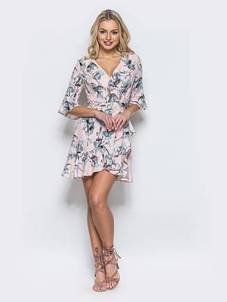 1f2ebe97e544c9 Легке, повітряне плаття з яскравим квітковим принтом пудра розмір 44,46,48,