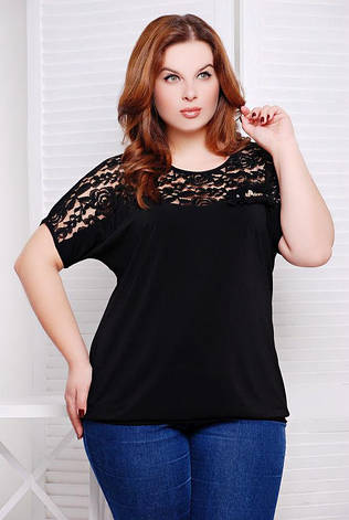 bbe194bae9b Летняя черная блузка больших размеров Гипюр  450 грн. Купить в ...