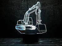 """3D светильник ночник """"Экскаватор"""" 3DTOYSLAMP, фото 1"""