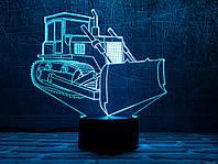 """3D светильник ночник """"Бульдозер"""" 3DTOYSLAMP, фото 1"""