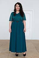 Зеленое нарядное платье в пол для полных Алана