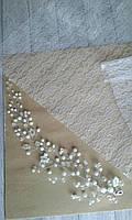 Віточка з намистин в білих кольорах, 26 см