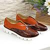 Женские туфли на утолщенной подошве, рыжая замша и кожа рептилия., фото 4