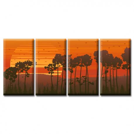 Модульная картина на холсте Sunset (полиптих). Акция: Бесплатная доставка!