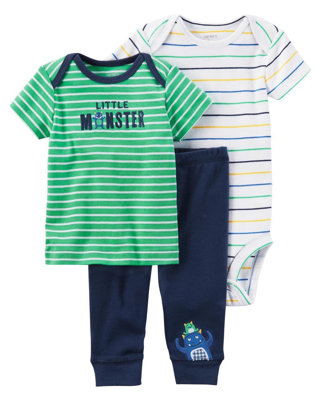 Футболка + Боди + Штаны Carters на новорожденного мальчика до 55 см. Комплект тройка