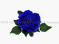 Букет из мастики - Роза с бутонами СИНЯЯ d-120