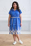 Синее красивое платье в горох для полных женщин Дерил