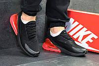 Кроссовки мужские Nike Air Max 270 (черные с красным), ТОП-реплика, фото 1