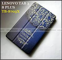 Vintage синий чехол c рисунок для Lenovo Tab 3 8 plus 8703X (TB-8703X), чехол книжка TFC эко кожаный