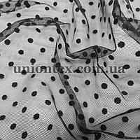 Ткань сетка с флоком горох черная