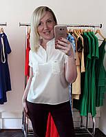 Женская блузка рубашка с коротким рукавом белая