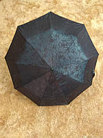 Бирюзовый зонт полуавтомат с выбитым рисунком