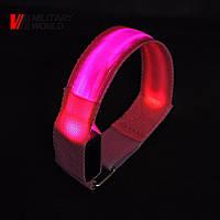 Светодиодный браслет на липучке, розовый