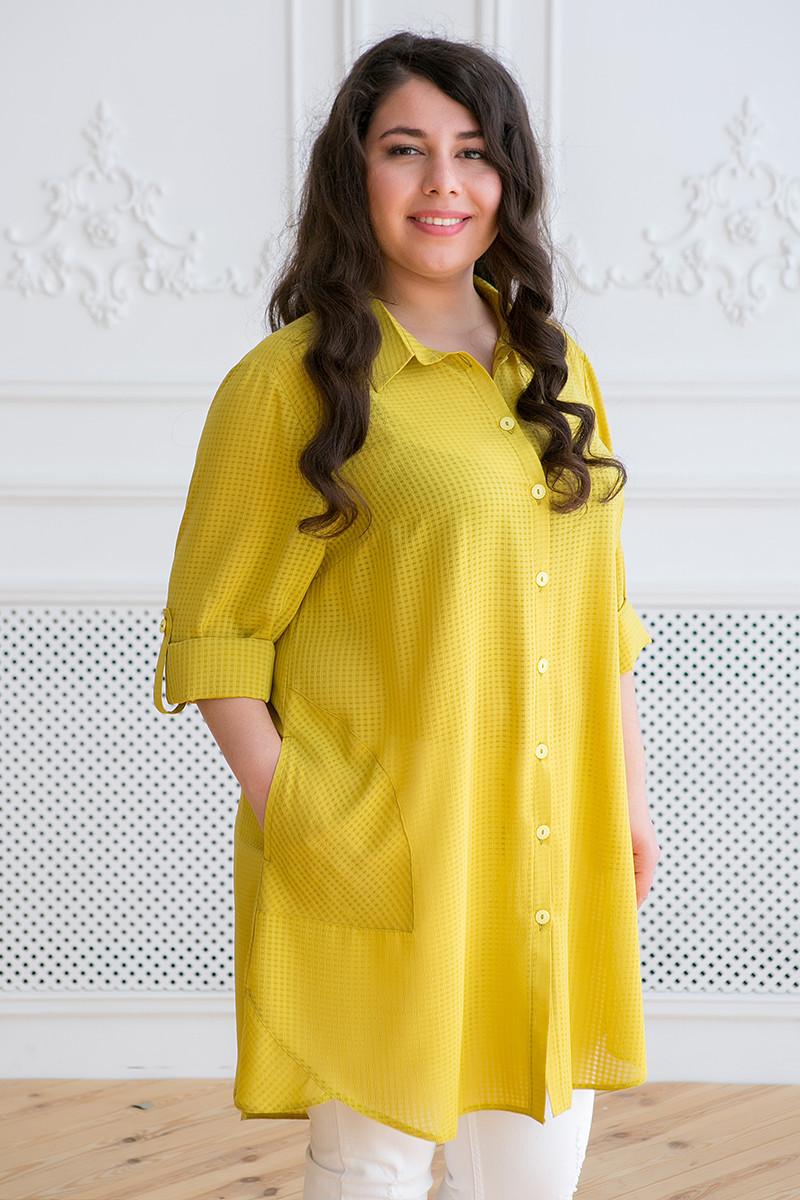 233c53fe0d6 Желтая рубашка туника для полных женщин Лика - V Mode