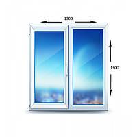 Окно металлопластиковое одностворчатое поворотно-откидное Brokelman 60mm (4кам)  1300х1400 мм
