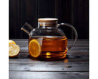 Заварочный стеклянный чайник с фильтром-пружинкой в носике, объем 1 л с бамбуковой крышкой (7 см), фото 1