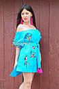 Вышитая туника платье лен вышиванка бохо стиль этно, платье открытые плечи, фото 3